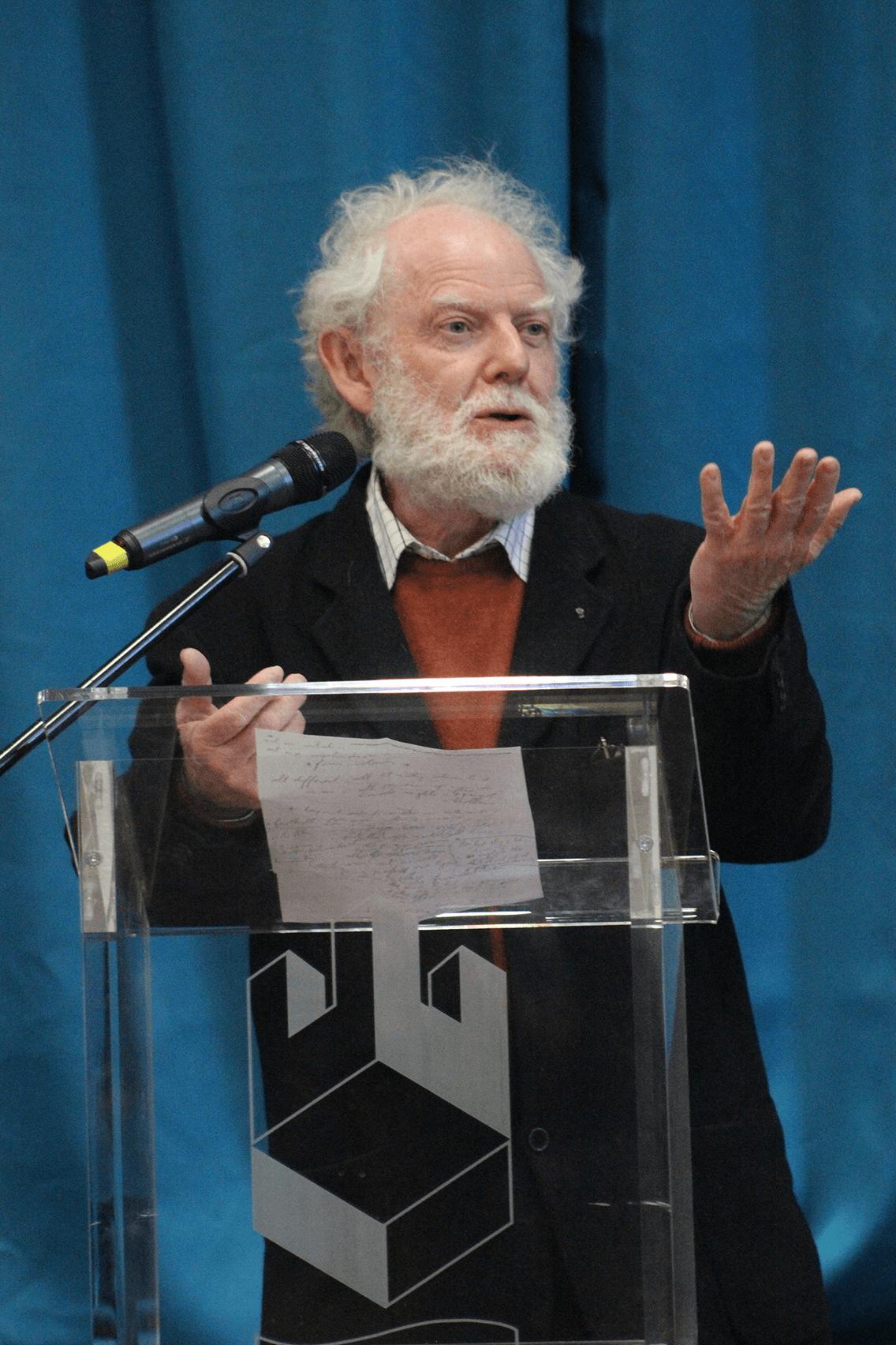 Professor Jean Michel Massing giving a speach